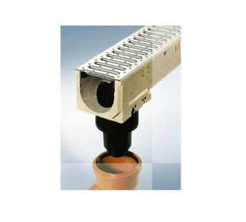 Vertical outlet connector DN100 with a siphon and strainer to the linear drainage system MEALINE S i MEAGARD II