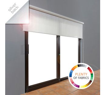 Free-hanging solar reflective roller blind in a cassette