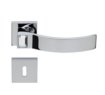 Lever door handle on a square rose 019 Elios Crystal Linea Cali