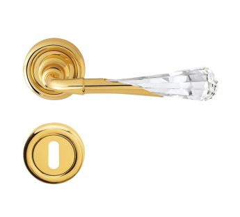 Lever door handle on a round rose 103 Gemma Linea Cali